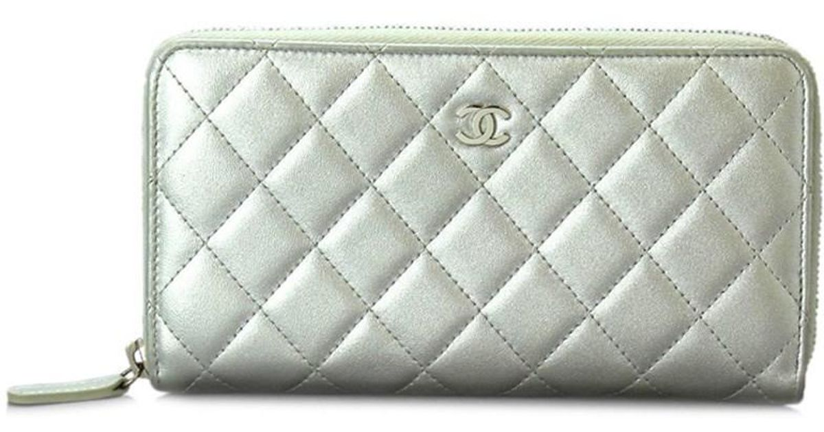 67e8555c4d02 Chanel Matelasse Zipper Around Long Wallet Leather Silver A50097 90015783..  in Metallic - Lyst