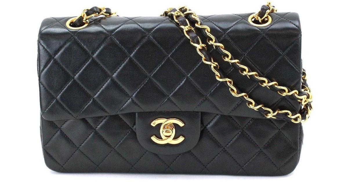 e7f24746b8e Lyst - Chanel Matelasse Chain Shoulder Bag Black Leather A01113 Vintage  90044279.. in Black