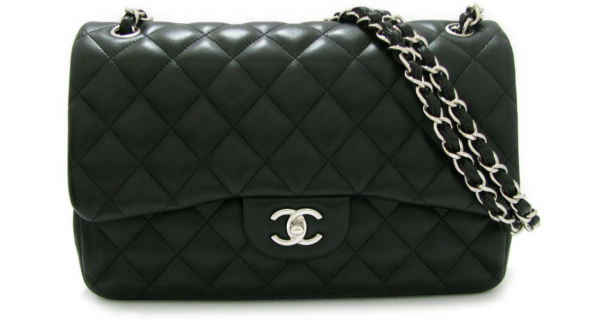 Chanel Matelasse W Flap Chain Shoulder Bag 30 A58600 Lambskin Leather Black