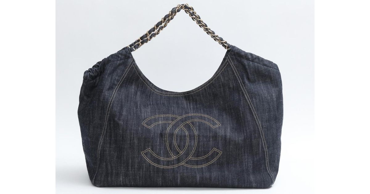 d639815014c150 Chanel Coco Canvas Gm Chain Shoulder Bag Tote Bag Denim Blue in Blue - Lyst