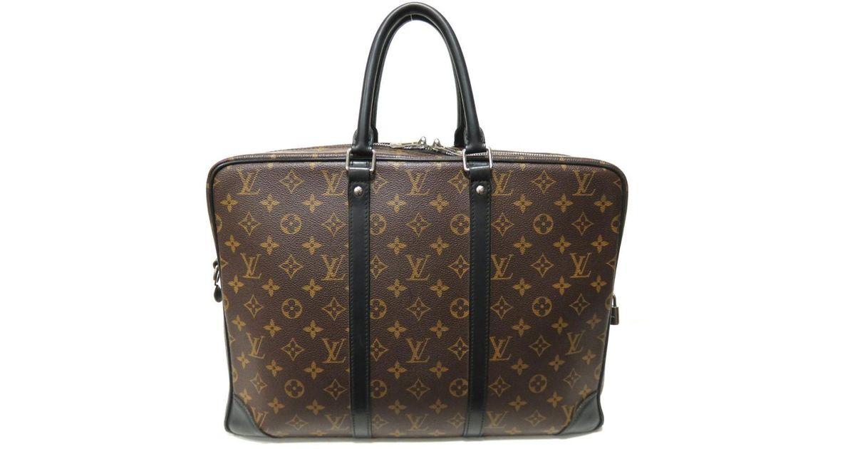 baa2738ade88 Lyst - Louis Vuitton Auth Porte Documents Voyage Gm Briefcase M40224 Monogram  Macassar in Brown for Men