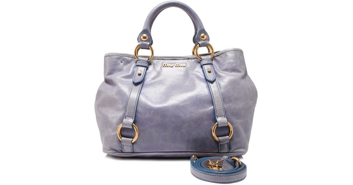 Lyst - Miu Miu Pre-owned Vitello Shine Shoulder Bag in Blue 4f6697cc6cb77