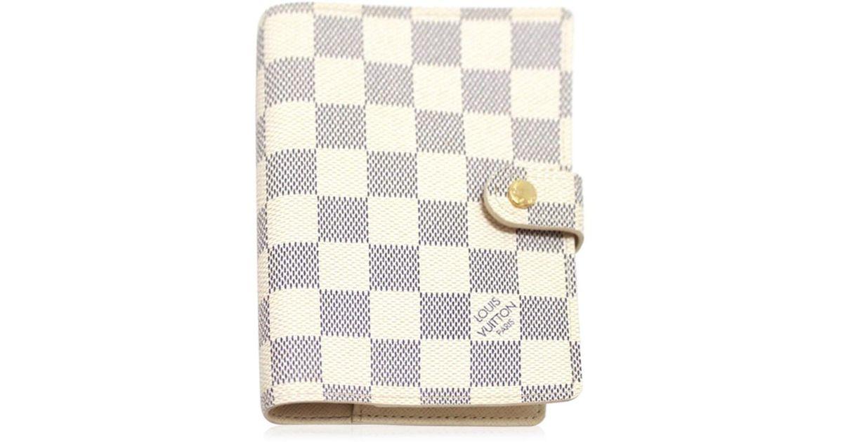 best cheap 953a9 c2c59 Louis Vuitton Damier-azur Agendapm Men's Women's Handbook Cover White  Damier-azur Canvas R20706