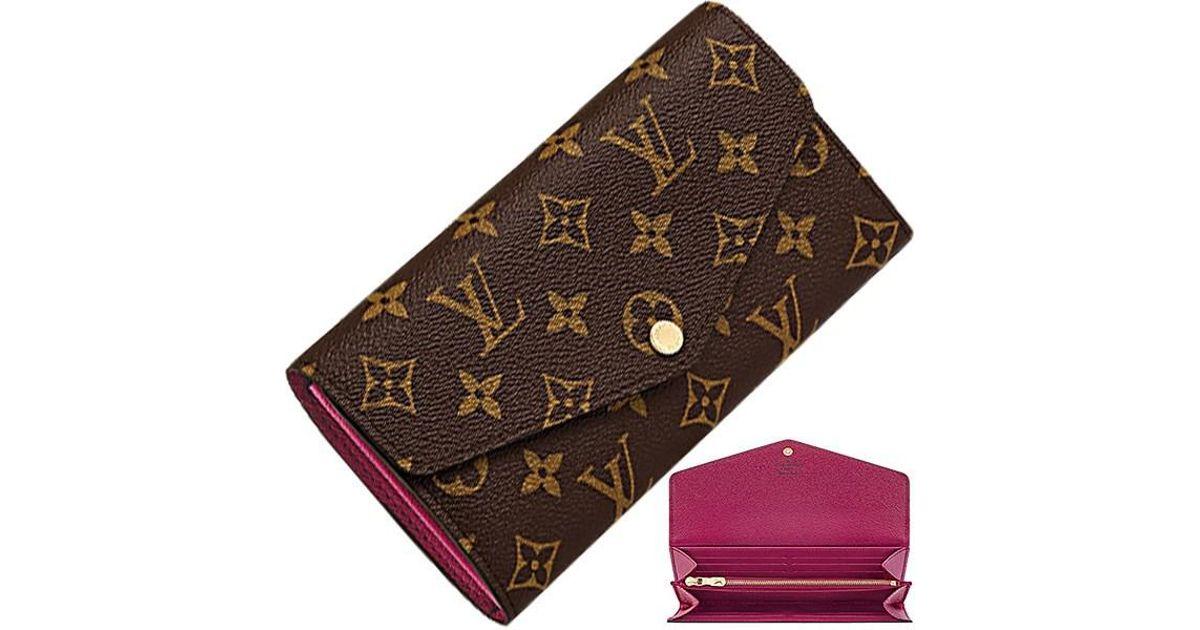 finest selection 13985 8baca Louis Vuitton Brown Sarah Wallet Monogram M62234 Fuchsia (pink) Bifold  Wallet [new]