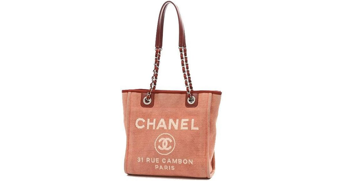 80bde925ffeb Chanel Deauville Line Deauville Pm Small Tote Bag Canvas Red A66939 in Red  - Lyst