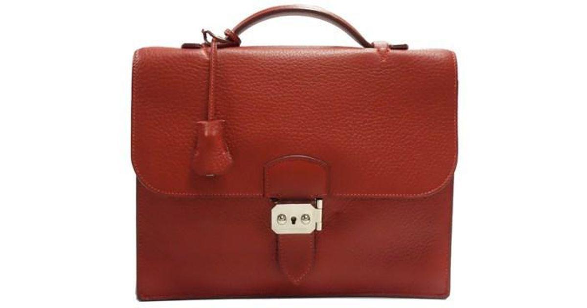 f61d2f5d19ec Lyst - Hermès Sac A Depeche 27 Briefcase in Red