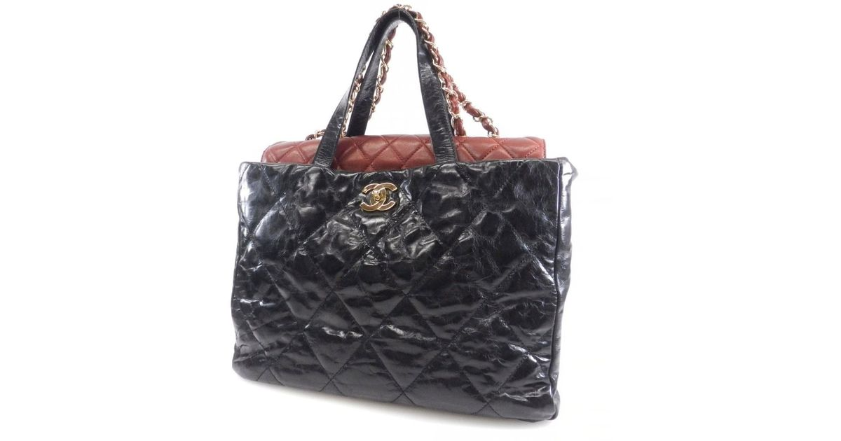 204155f9fc22 Chanel Leather Tote Bag 2 Way Chain Damage Processing in Black - Lyst