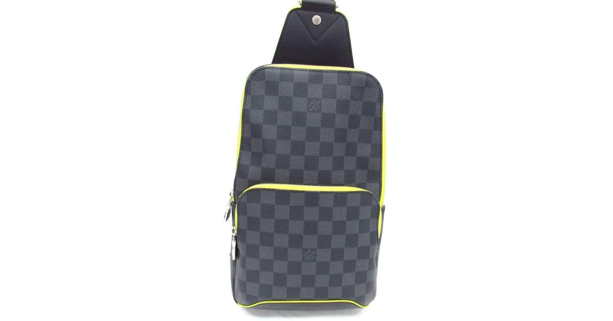 563d94c3e46c8 Lyst - Louis Vuitton Avenue Sling Body Bag N42424 Damier Graphite leather  Gray Jaune in Gray for Men