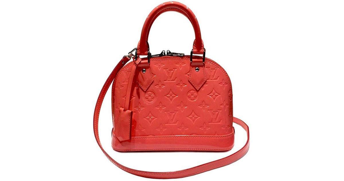86cc23f3a4a1 Lyst - Louis Vuitton Monogram Vernis Alma Bb Handbag M90259 rose Litchi  2way in Pink