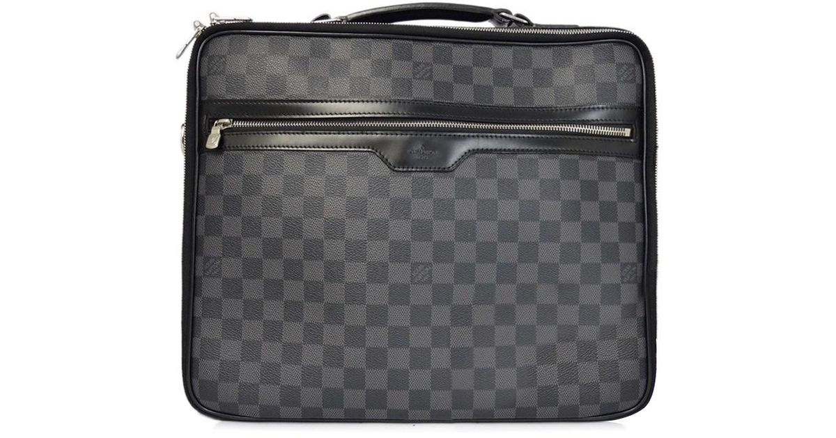 Lyst Louis Vuitton Damier Gras Fit Computer Case Steve N58030 Pre Owned In Black For Men