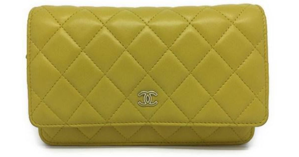 92171ea96501 Lyst - Chanel Quilted Lambskin Leather Wallet On Chain Crossbody Bag Yellow  1041 in Yellow