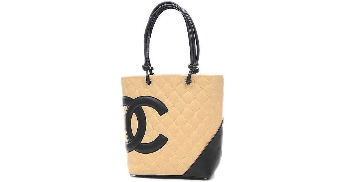 9f12d65afa30 Lyst - Chanel Cambon Line Medium Tote Bag Calfskin Beige / Black A 25167 in  Natural