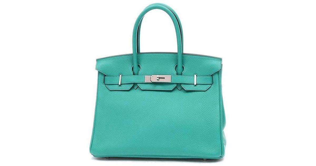 2d7169ae9403 Lyst - Hermès Birkin 30 Taurillon Clemence Blue Paon Silverhardware X Mark  in Green