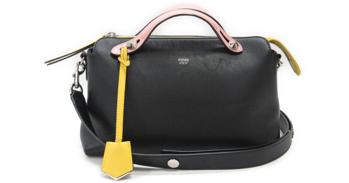 0caeab1728f1 Lyst - Fendi By The Way 2way Hand Shoulder Bag Blackxpinkxyellow Leather  8bl124 in Black