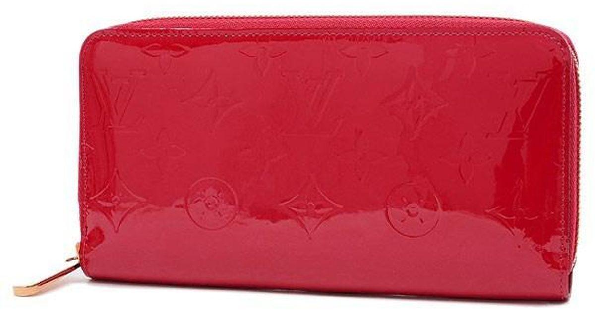 best service f2faa 1e442 Louis Vuitton - Red Vernis Zipli Wallet Zip Aroundpurse Threeze M90417 -  Lyst