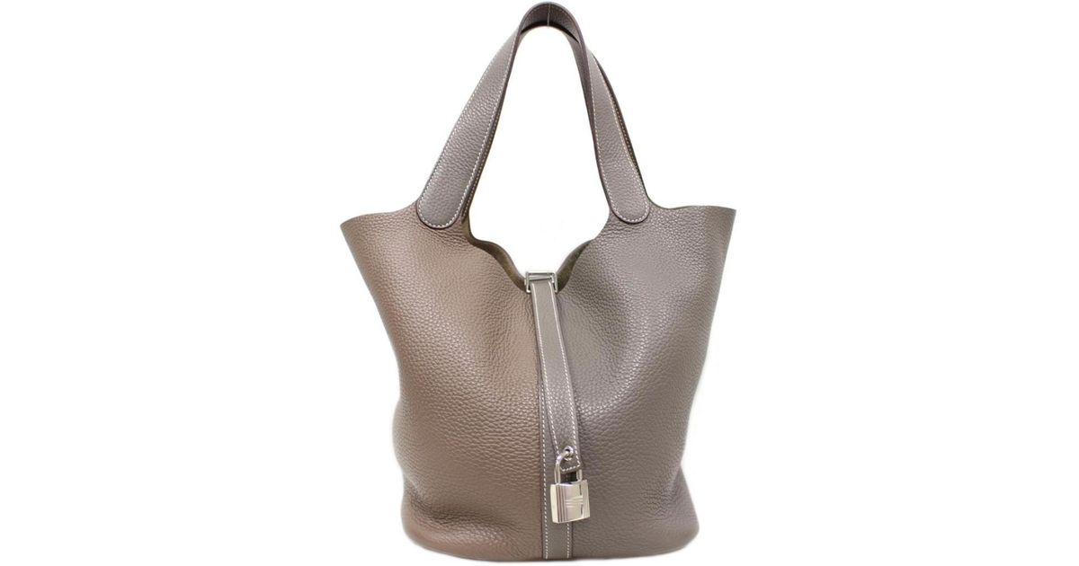 40aa1ca40f Lyst - Hermès Picotin Lock Gm Tote Bag Handbag Clemence Leather Etain  Etoupe Gray in Gray