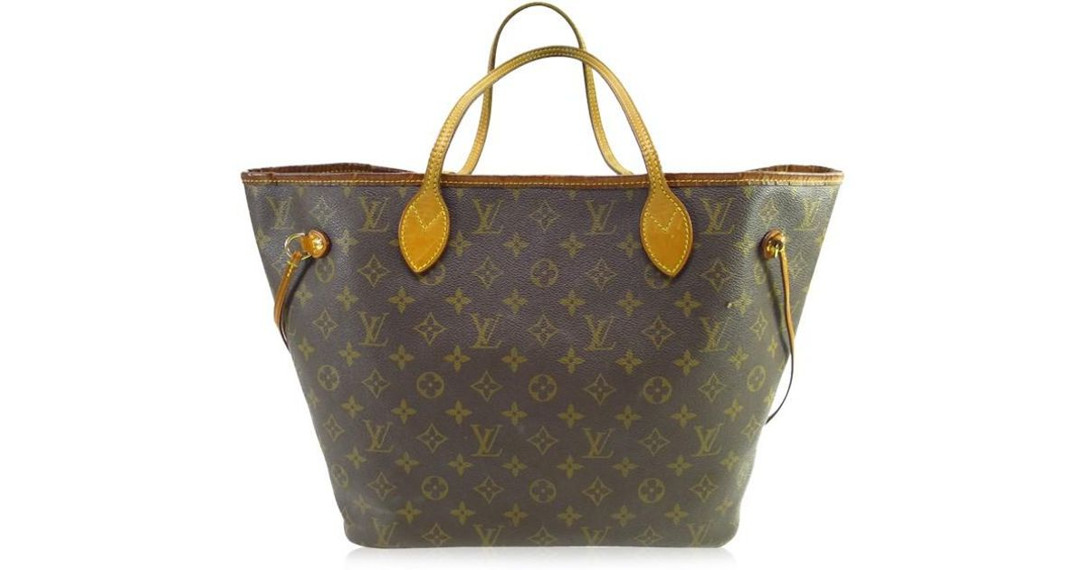 c5265972b7f1 Lyst - Louis Vuitton Authentic Neverfull Mm Shoulder Tote Bag Monogram  Canvas M40156 in Brown