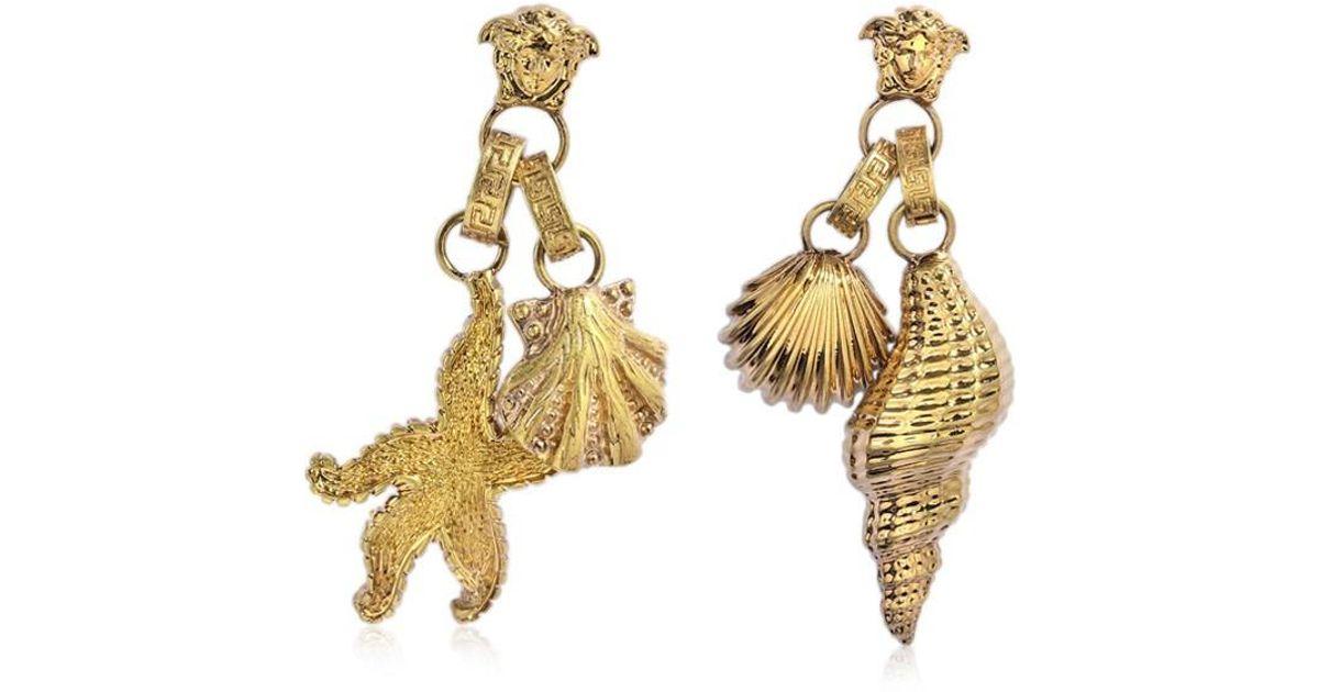 34f93d935 Versace Trésor De La Mer Drop Earrings In Golden Brass And Strass in  Metallic - Lyst