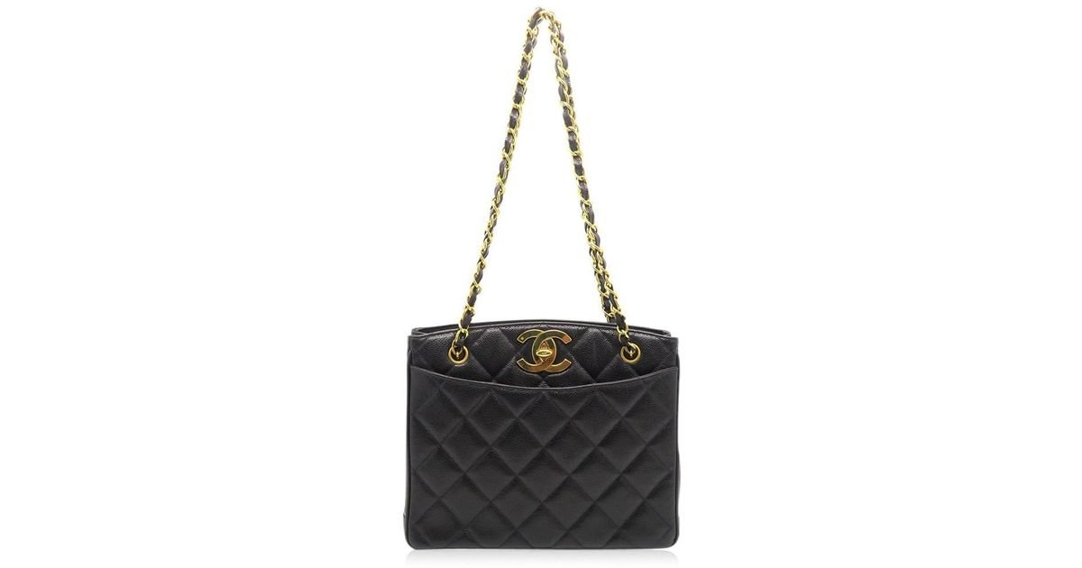 68a855f2673293 Lyst - Chanel Quilted Caviar Leather Ghw Chain Vintage Shoulder Bag Black  8280 in Black