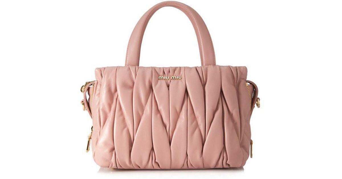 b21b2bd7938b8 Miu Miu Small Matelassé Nappa Leather Satchel - in Pink - Lyst