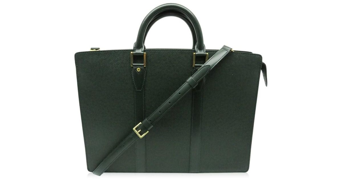 91af0b392 Louis Vuitton Taiga Leather Lozan Business Bag Briefcase Green 8023 in  Green for Men - Lyst