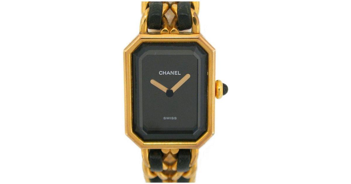 Chanel Auth Premiere M Ladies Watch H0001 Quartz Black Gp X Leather Used Lyst