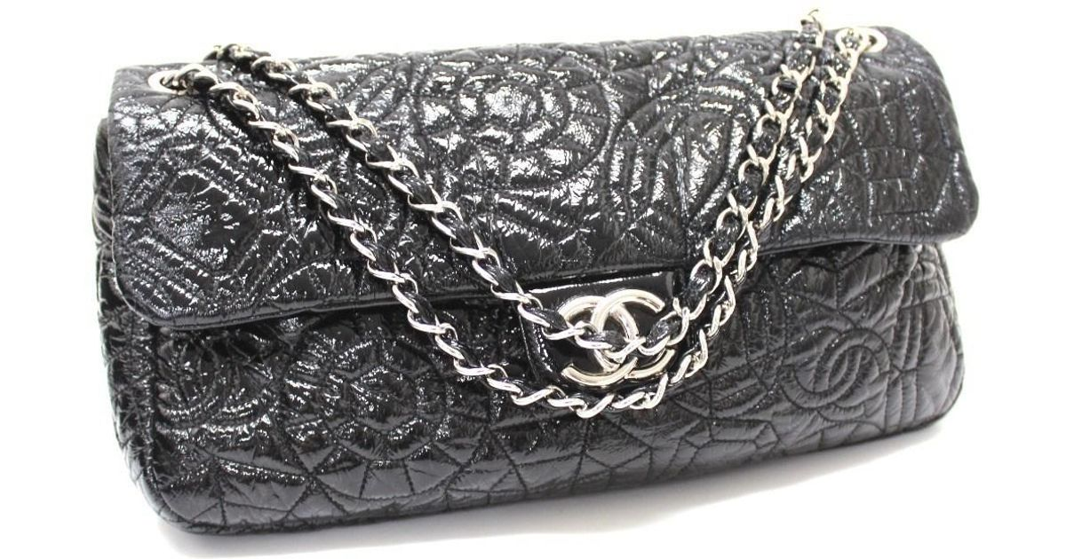 f0fc1c337197 Lyst - Chanel Multi-stitch Cc Mark Double Chain Shoulder Bag Black in Black