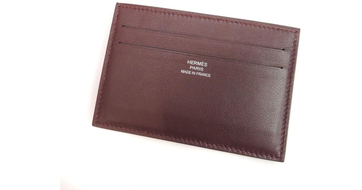outlet store 1f096 7e91b Hermès Red Leather Card Case Silk In Citizen Twill