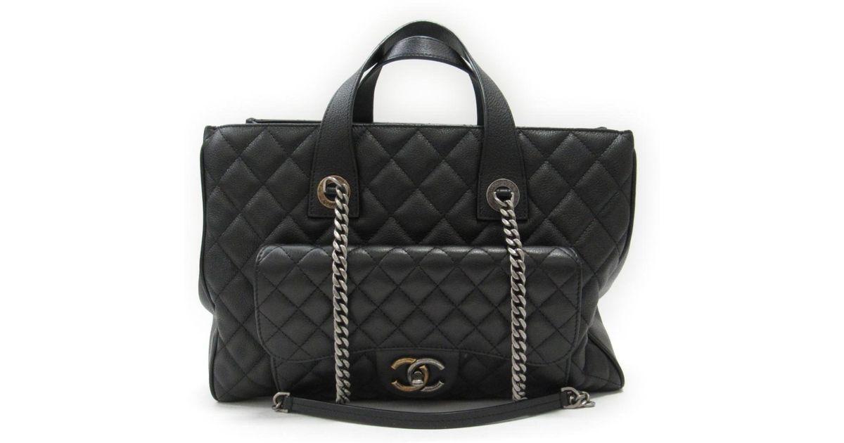 Lyst - Chanel Cc Matelasse 2way Handbag Shoulderbag A98557 Leather Black in  Black f6a6c1a38179b