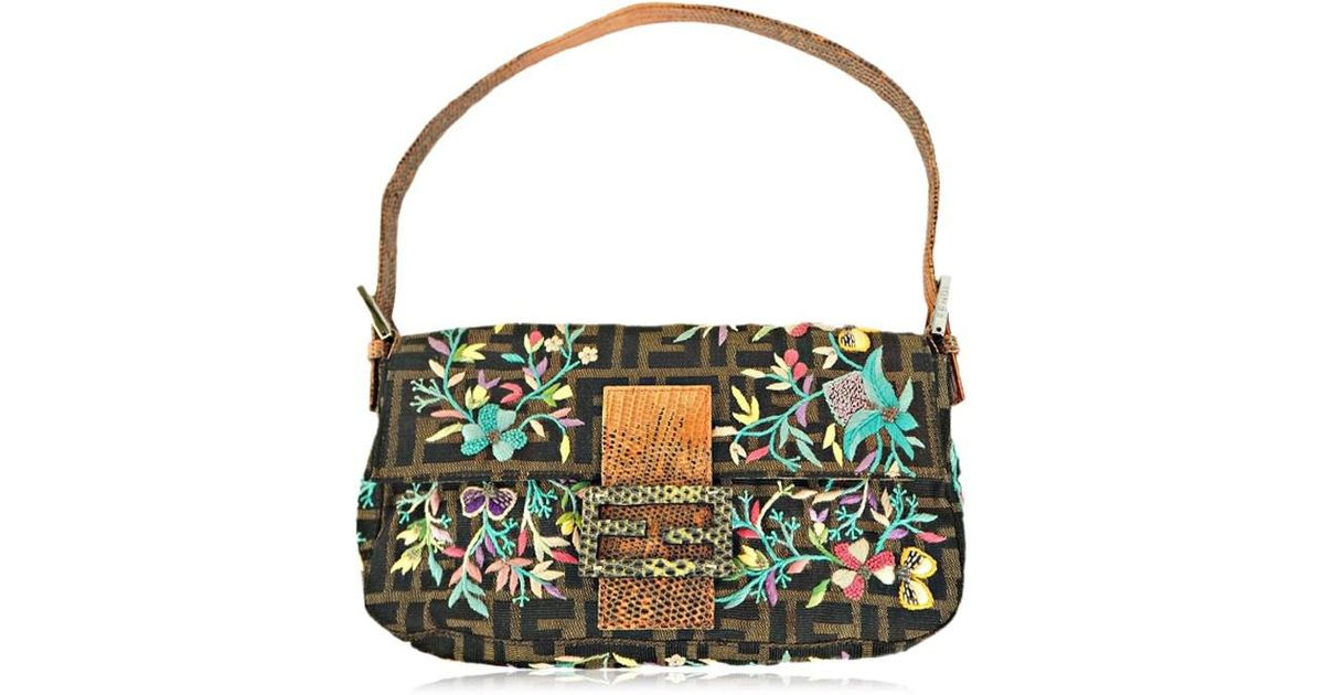 2c34717c18 ... clearance lyst fendi mini shoulder bag flower embroidery baguette  canvas brown orange used ab in brown