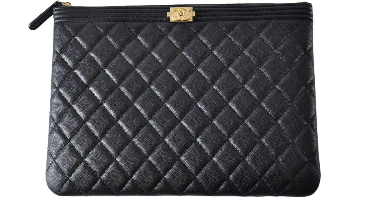 24a9b85ba5a2 Lyst - Chanel Boy Ocase Black Caviar Ghw in Black
