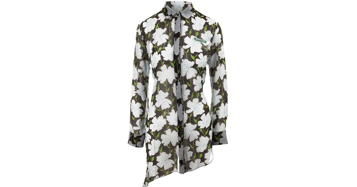 4ec990aaaa2b Lyst - Off-White C O Virgil Abloh Floral Asymmetric Shirt In Silk With  Chest Patch And All Over Floral Print in Green