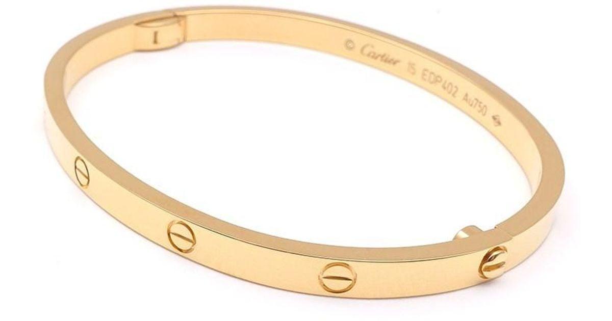 Cartier Metallic Love Bracelet Sm Bangle Size 15 K18yg 750 Yellow Gold