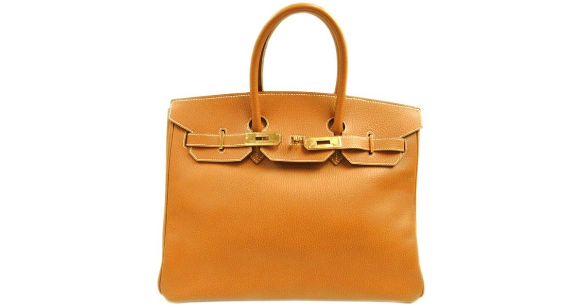 c676b120a3 Lyst - Hermès Birkin 35 Handbag Totebag Ardennes Leather Natural Brown Ghw  in Brown