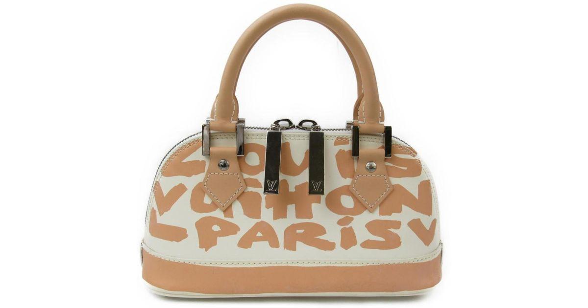 4942cc7870e Lyst - Louis Vuitton Graffiti Alma Pm Handbag M92178 Leather Beige in  Natural