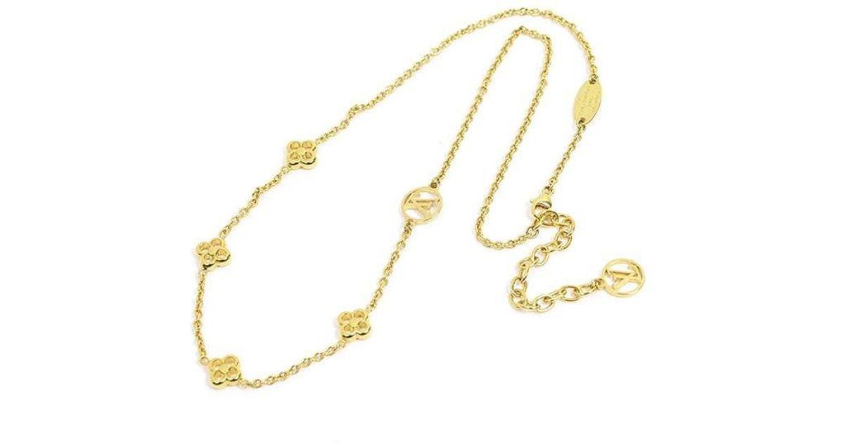 e9878e219ff47 Lyst Louis Vuitton Necklace Flower Full Lv Logo Gold M68125 In