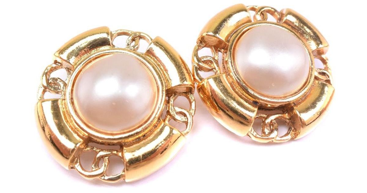 26ab54603 Lyst Chanel Gold Plated Fake Pearl Silver Earring Women In