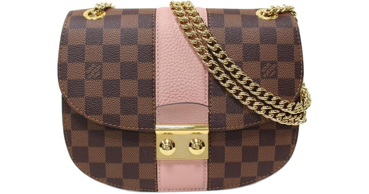Lyst - Louis Vuitton Wight Chain Shoulder Bag Damier Taurillon Leather  Magnolia N64418 in Pink