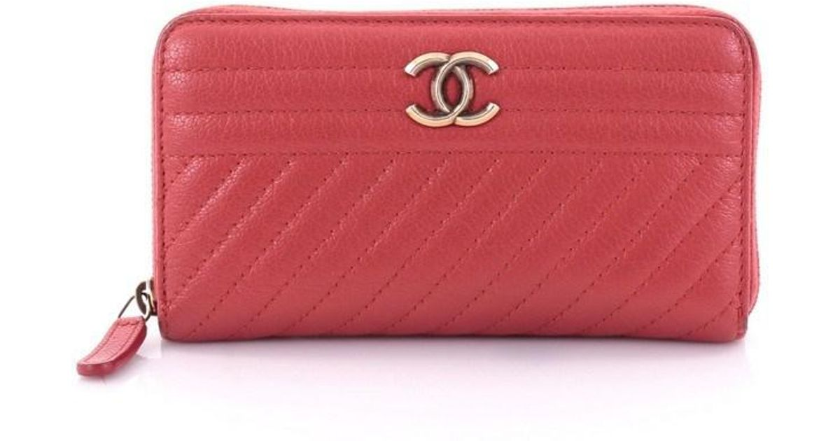 6327d28f4206 Lyst - Chanel Zip Around Wallet Diagonal Quilted Leather Compact in Red