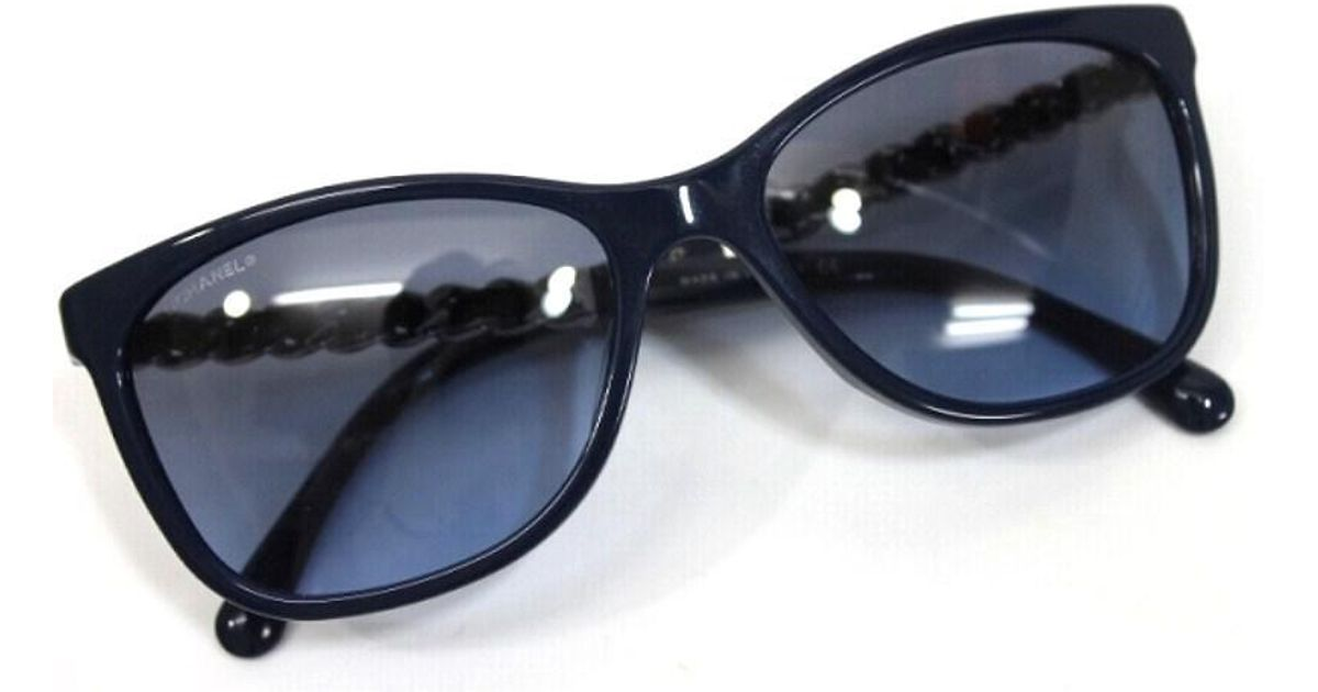 60ccaad20b8 Lyst - Chanel Authentic Cat s Eye Shaped Chain Detail Sunglasses Blue  5260-q-a in Blue