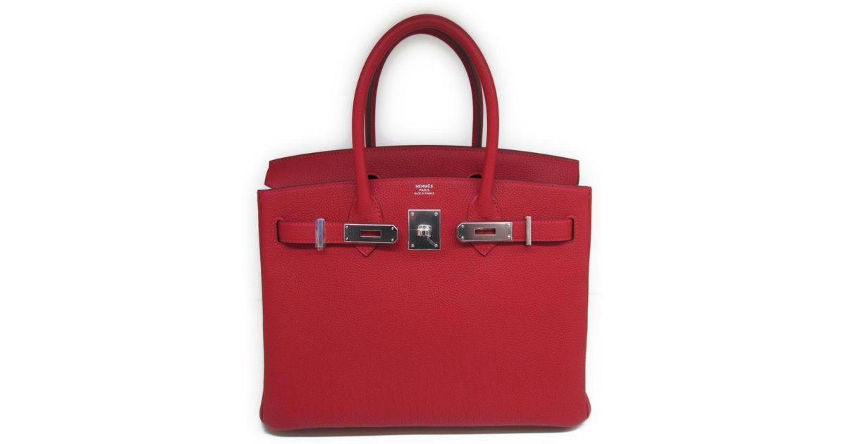c91331d7d1cd Lyst - Hermès Birkin 30 Handbag Totebag Togo Leather Rouge Garance Red Shw  in Red