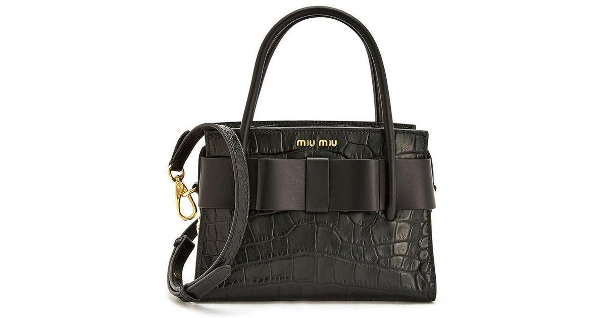 09ea8715d95 Miu Miu St. Cocco Fiocco Top Handle Bag 22cm in Black - Lyst