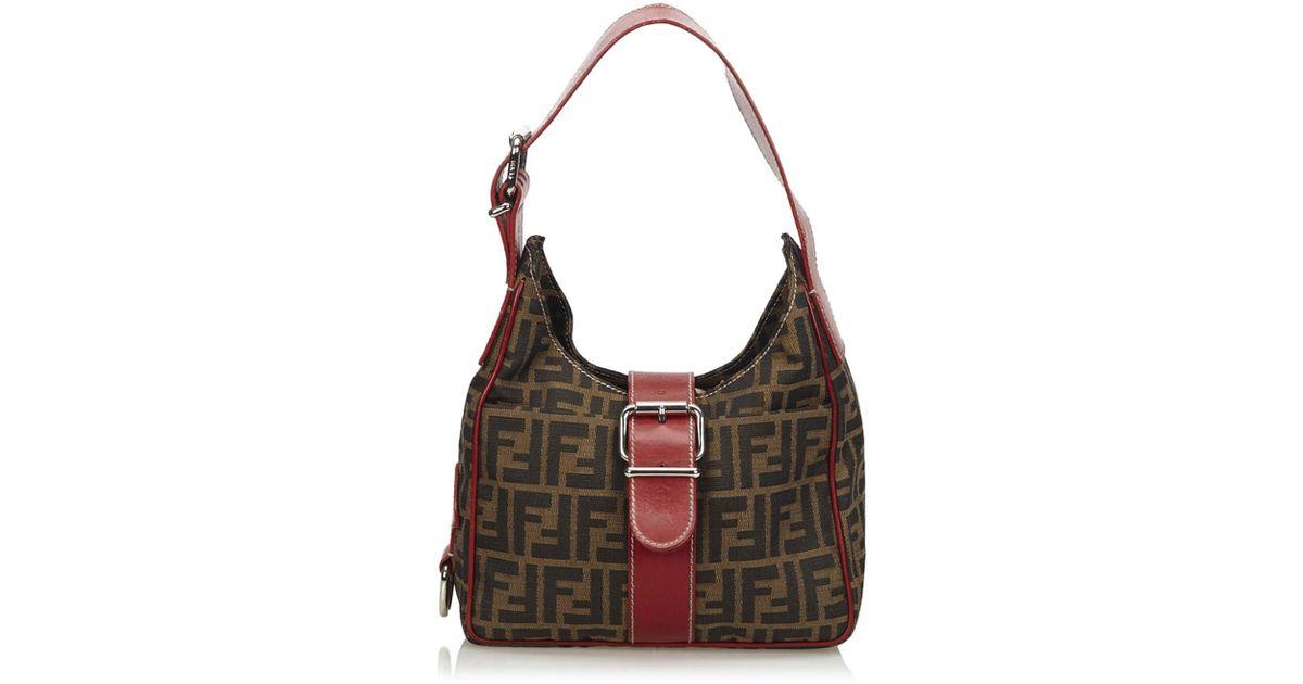 efb4adcdb1ab Lyst - Fendi Zucca Hobo Bag in Brown