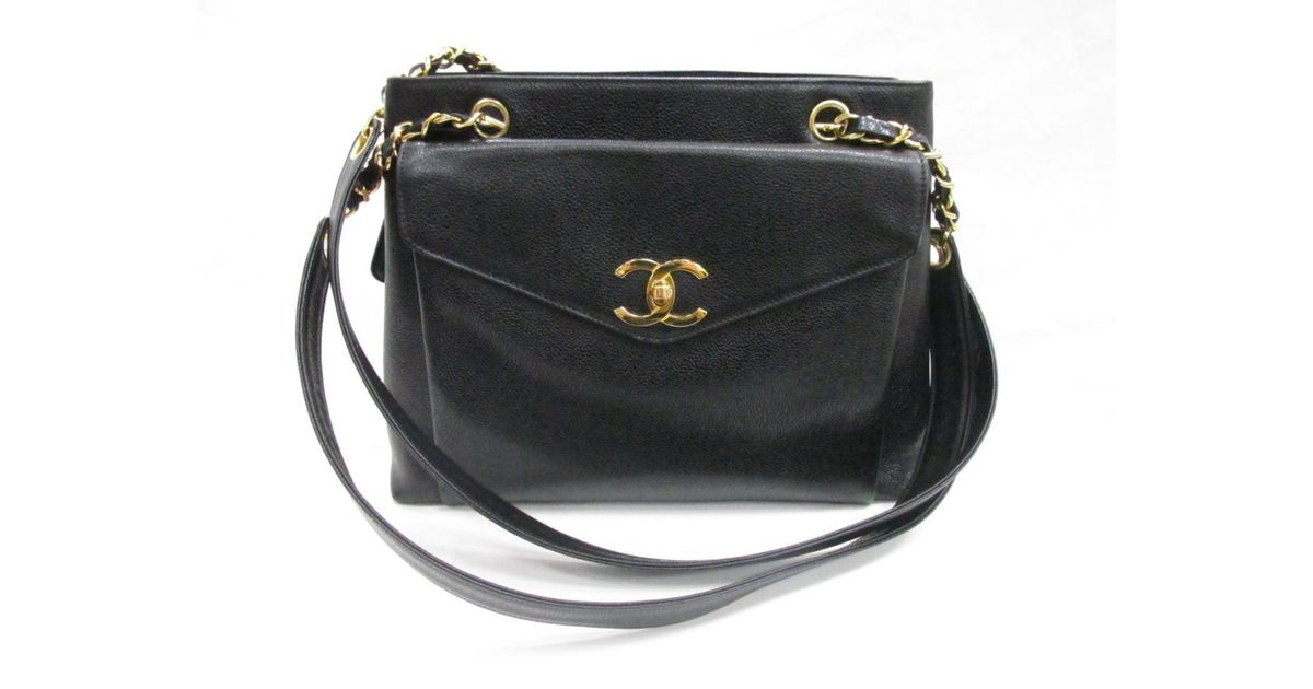Lyst - Chanel Cc Caviar Skin Shoulder Totebag Caviar Skin Leather Black in  Black 9852cfd2ff252