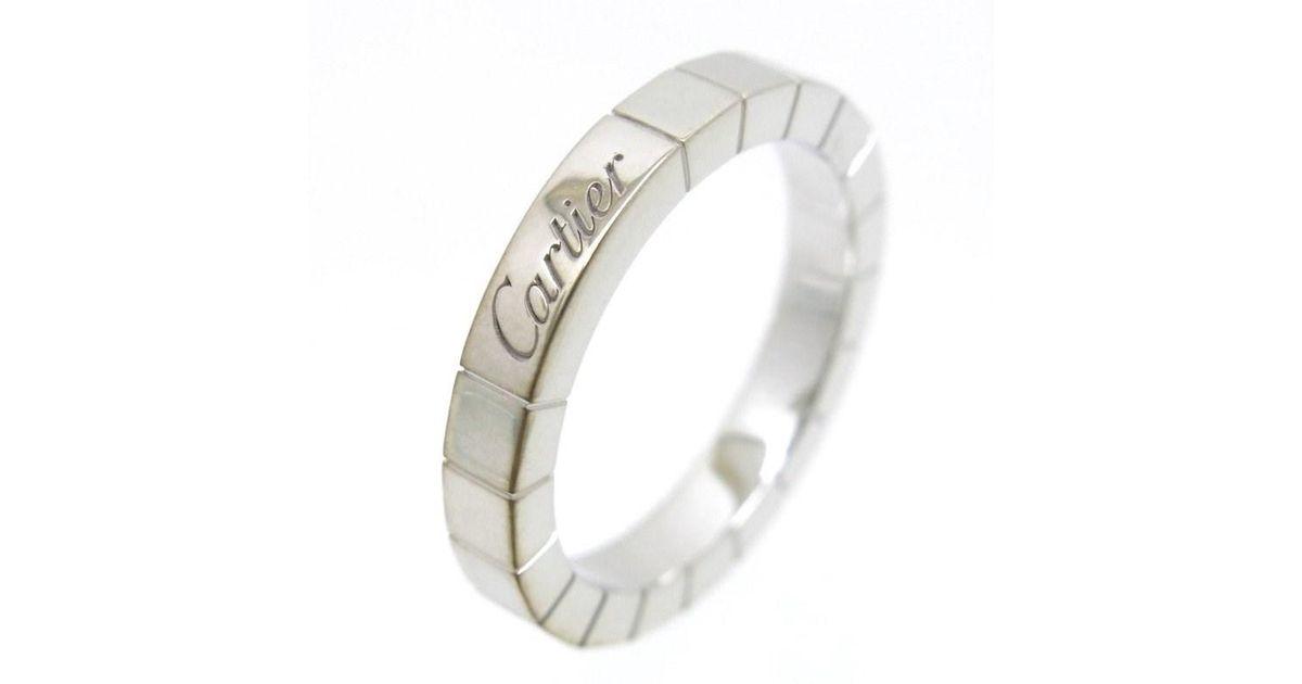 39558e67dbc84 Cartier Auth Lanieres Ring White Gold 18k Eu#51 Us#5.5 Guarantee