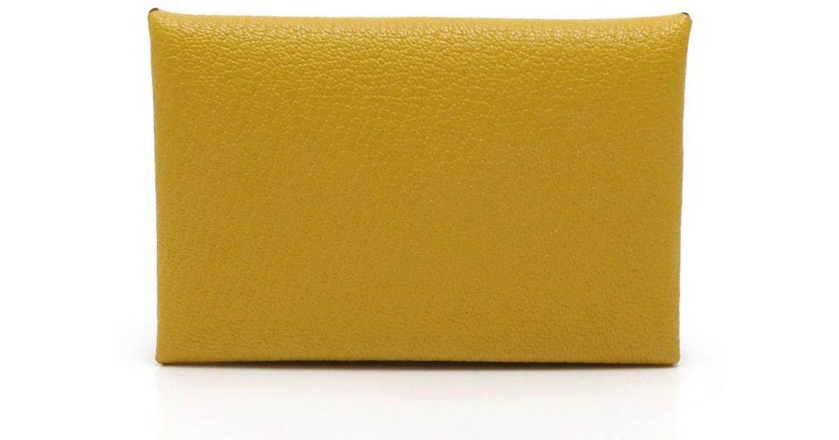 Lyst herms calvi business card holder card case q engraved lyst herms calvi business card holder card case q engraved sheburu yellow in yellow colourmoves