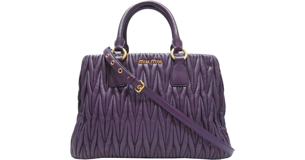 2e04d98c185a Lyst - Miu Miu Miumiu 2way Shoulder Hand Bag Violet Viola Matelasse Leather  in Purple