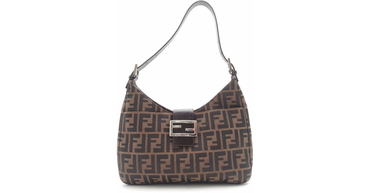 45781340e137 Lyst - Fendi Canvas Zucca Pattern Shoulder Bag in Brown