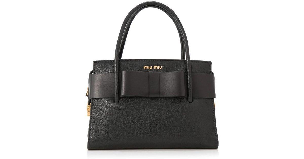 Lyst - Miu Miu Madras Bauletto Fiocco Handbag With Bow in Black 00c96812eae75