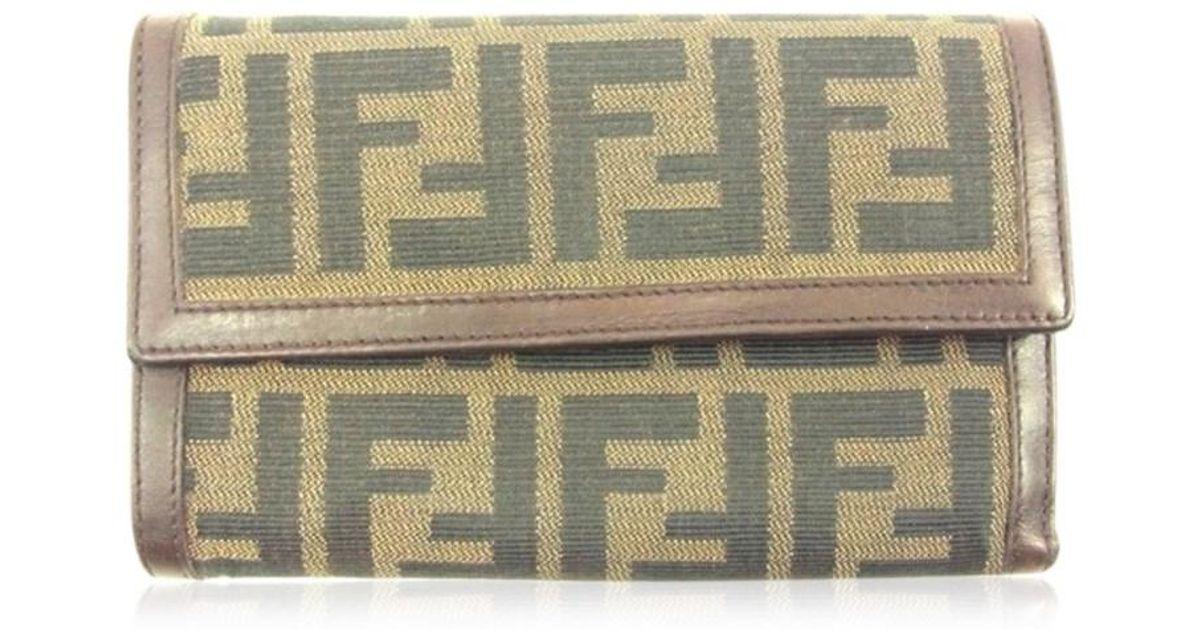 0018bd34 Fendi Brown Tri Fold Wallet Zucca Womens Men Used T4680